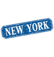 New York blue square grunge retro style sign vector image vector image