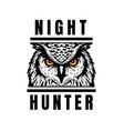 night hunter owl head t-shirt print design vector image vector image