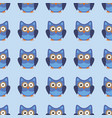 owl stylized art seemless pattern blue colors vector image