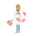 paramedic holding first aid box and lifebuoy vector image vector image