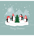 penguins and christmas tree vector image