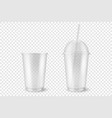 realistic 3d empty clear plastic opened vector image vector image