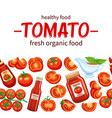 seamless border pattern red tomato vector image