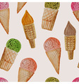 Seamless Pattern with Watercolor Ice Cream vector image vector image