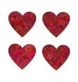 Set doodle red hearts vector image vector image
