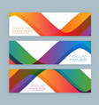 set of three colorful wave banners banners vector image vector image