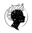 silhouette a female head with mohawk hairstyle vector image vector image