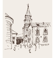 sketch drawing of the bell tower church top view vector image vector image