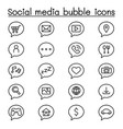 social media bubble icon set in thin line style vector image