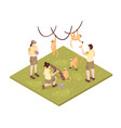 zoo keepers isometric composition vector image vector image