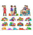 set of people giving present boxes and gifts vector image