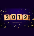 2019 happy new year and merry christmas or x-mas vector image