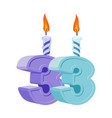 33 years birthday number with festive candle for vector image vector image