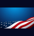 american flag waving on blue background vector image