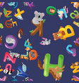 animals alphabet background set of cartoon vector image