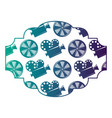 badge with movie camera projector and reel film vector image vector image