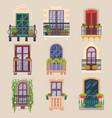 balcony windows house facade cartoon banisters vector image vector image