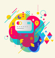 Bank cards on abstract colorful spotted background vector image