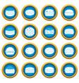 burger icons blue circle set vector image