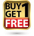 buy 1 get 1 free golden label with red ribbon vector image vector image