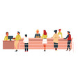 canteen line men and women with trays cash machine vector image vector image