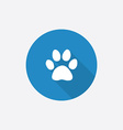 cat footprint Flat Blue Simple Icon with long vector image vector image