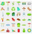 city park icons set cartoon style vector image vector image