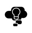 cloud idea lamp icon black vector image vector image