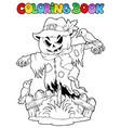 coloring book halloween scarecrow vector image vector image