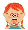 cute little girl eating a hamburger vector image vector image