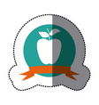 emblem long apple fruit icon vector image vector image