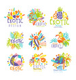 exotic tropical summer vacation set logo vector image vector image