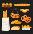 fresh bread and pastry isolated onblack background vector image vector image