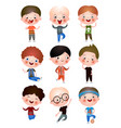 funny funny kids with different hairstyles and vector image