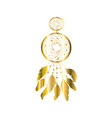 golden lace feather dream cathcer on white vector image vector image