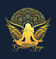 golden yoga emblem vector image