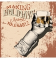 Hand holding a glass of tipple with grunge effect vector image vector image