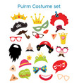 happy purim party set - photobooth props with vector image vector image