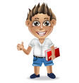happy school boy cartoon character vector image