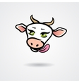 Head of licking cow isolated on a white background vector image vector image