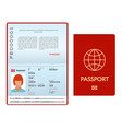 Opened international passport template with red