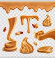 peanut butter realistic transparent set vector image