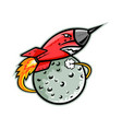 rocket launching off moon mascot vector image vector image