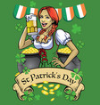 saint patrick day poster with beautiful girl hold vector image