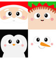 santa claus elf penguin bird snowman square face vector image vector image