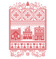 scandinavian christmas village pattern vector image vector image