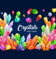 sparkling shine crystals and gemstone poster vector image vector image