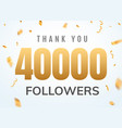 thank you 40000 followers design template social vector image vector image
