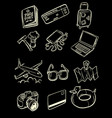 travel tourism collection set icons symbols sketch vector image vector image