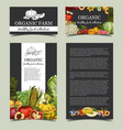 vegetables and fresh fruits at market banner vector image vector image